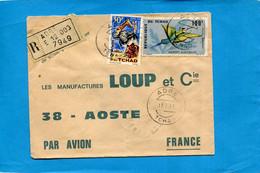 Marcophilie-lettre-TCHAD-REC  >Françe-cad-ADRE-1971-thematic-2 Stamp N°a131 Bird -mérops - Chad (1960-...)