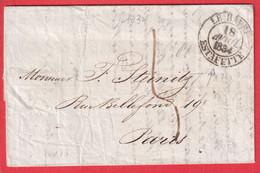CAD TYPE 13 LE HAVRE ESTAFETTE 1834 POUR PARIS INDICE 10 - 1801-1848: Voorlopers XIX