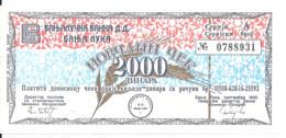 BOSNIE HERZEGOVINE 2000 DINARA 1992 XF++ MILITARY CHECK - Bosnia And Herzegovina
