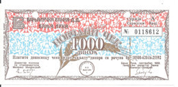 BOSNIE HERZEGOVINE 1000 DINARA 1992 XF++ MILITARY CHECK - Bosnia And Herzegovina
