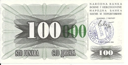 BOSNIE HERZEGOVINE 100000 DINARA 1993 UNC P 56 I - Bosnia And Herzegovina