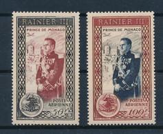 MONACO - POSTE AERIENNE N° 49 NEUF** SANS CHARNIERE + 50 NEUF* AVEC CHARNIERE - COTE : 18€ - 1950 - Luchtpost