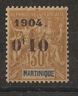 Martinique - 1904 - N°Yv. 54 - 0f10 Sur 30c Brun - Type I - Neuf ** Luxe / MNH / Postfrisch - Nuovi