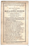 Honderjarige -centenaire Dsp (souvenir-pieux) Maria-Sophia Seghers Wed. De Baets En Wed. Colle Wondelgem 1786- Gent 1887 - Overlijden