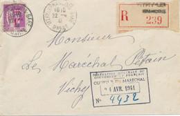 1941 PAIX N° 484 SEUL LETTRE RECOMMANDÉE OFFICE > MARECHAL PETAIN VITRY LE FRANÇOIS MARNE > VICHY WW2 - WW II
