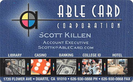 Able Card SAMPLE Casino Card - Carte Di Casinò