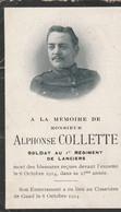 ABL, Alphonse Colette , Mort Pour La Patrie Le 8 Octobre 1914 , Soldat Au 1er Régiment De Lanciers - Obituary Notices