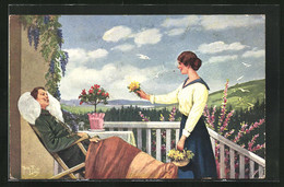 Künstler-AK Arthur Thiele: Mann Im Liegestuhl Bekommt Ein Blumenstrauss Von Geliebter - Thiele, Arthur