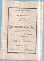 Dépt 77 - École Communale Des Filles De POMMEUSE, Dirigée Par Mlle PAIN 1907-08 - Prix D'Excellence Marguerite JUMEAU - Other Municipalities