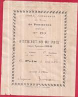 Dépt 77 - École Communale Des Filles De POMMEUSE, Dirigée Par Mlle PAIN 1908.09 - 9è Prix D'ensemble Suzanne JUMEAU - Other Municipalities