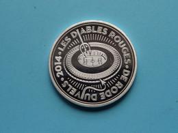 """DE RODE DUIVELS """" 2014 """" LES DIABLES ROUGES ( Zie Foto's ) 40 Mm. / 30 Gr. / Zilverkleur ! - Elongated Coins"""