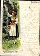 Lithographie Eyach Eutingen Im Gäu Kreis Freudenstadt, Brunnenverwaltung, Tafelwasser, Frau In Tracht - Altri