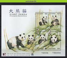 Ngg075b FAUNA REUZENPANDA GIANT PANDA BAMBOE PLANTS ZOOGDIEREN MAMMALS RIEßENPANDA WILDLIFE GUYANA 1996 PF/MNH - Ours