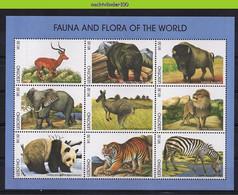 Ngg076b FAUNA ZOOGDIEREN TIJGER HERT PANDA ZEBRA LION BISON BEAR ELEPHANT TIGER CAT MAMMALS WILDLIFE LESOTHO 1998 PF/MNH - Gibier