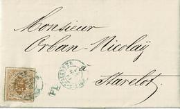 Lettre De Esch-sur-Alzette à Stavelot (Belgique),1873, 20c Brun Jaune, 19a, Par Lux, Ambt Bruxelles, Sceau Des Ht-fourn. - 1859-1880 Coat Of Arms