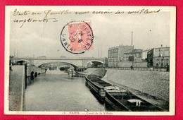 CPA (Ref : BB 884) PARIS (75 ILE DE FRANCE) Canal De  La  Villette (animée, Péniche) - The River Seine And Its Banks