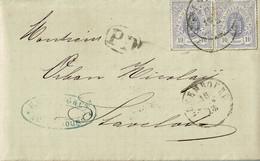 Lettre De Luxembourg à Stavelot (Belgique),1873, 2x10 C, 17a, Par Spa - 1859-1880 Coat Of Arms