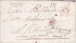 """France - 1ère Marque Du Bureau Des Rebuts """"R"""" Rouge Sur Lettre + M.tre De La Guerre - An VI - 25 Décembre 1797 - Rare - 1701-1800: Precursores XVIII"""