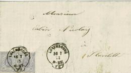 Lettre De Luxembourg à Stavelot (Belgique),1873, Bloc De 2x10 C, 17a, Par Namur, Cachet Luxembourg PD - 1859-1880 Coat Of Arms