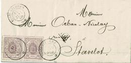 Lettre De Trois- Vierges à Stavelot (Belgique),1868, Bloc De 2x10cent., 10c, Par Spa - 1859-1880 Coat Of Arms