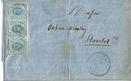 Lettre De Clervaux, Weiswampach à Stavelot (Belgique),1861, Bloc De 3x10cent., N°6, Par Spa, Oblitérations 9 Lignes - 1859-1880 Coat Of Arms