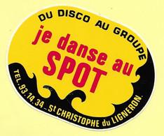 AUTOCOLLANT  STICKER - DU DISCO AU GROUPE - JE DANSE AU SPOT - 85670 SAINT-CHRISTOPHE DU LIGNERON- VENDÉE - DISCOTHÈQUE - Stickers