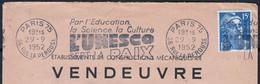 """R.B.V. """" Par L'éducation L'UNESCO..."""" Sur Enveloppe Fen  De PARIS 75  1952 En-tete PUB """" Const Meca De VENDEUVRE """" - Annullamenti Meccaniche (Varie)"""