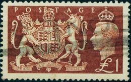"""Grossbritannien England 1951 Michel-# 254 """" 1 Pound Brown Empire Exhibition """" Mi 32 € - Usados"""