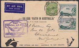 1934 VH-UXX Faith In Australia Air Mail Flight Cover - 3d Air Mail Service Pair * - Primi Voli