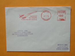 """Concorde -- Janvier 1976 1er Vol Commercial - Flamme Rouge Satas Specimen """"Gagnez Du Temps Vivez Au 20° Siècle"""" - Sellados Mecánicos (Publicitario)"""