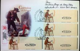 Portugal - ATM Machine Stamps - FDC (cover) - O AMOLADOR 1999 - Circulated, Registered, Cancel Braga - Affrancature Meccaniche Rosse (EMA)