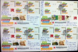 Portugal - ATM Machine Stamps - FDC (cover) X 4 - COMBATE À POBREZA 2010 - Circulated, Registered, Cancel Braga - Affrancature Meccaniche Rosse (EMA)