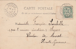 Yvert 111 Blanc  Bord De Feuille Cachet SEYSSES Haute Garonne 1903 Sur Carte Postale Fantaisie Pour EV - 1877-1920: Semi Modern Period