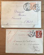 Lot 2 Entiers Postaux - Nîmes - Gard - 1902 - Paris - Pour Uzès - Gard - 1910 - Letter Cards