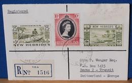 Belle Lettre 1954 - Recommandée De  VILA (Nelles HEBRIDES) Pour La SUISSE - Bel Affranchissement 3 Timbres - Storia Postale