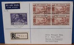 Belle Lettre 1950 - Recommandée De  VILA (Nelles HEBRIDES) Pour La SUISSE - Bel Affranchissement 5 Timbres Dont Bloc - Storia Postale