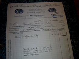 Facture Année 1929 Société Française De Fabrication De Billes En Pierre Et Tonnellerie  à Pont St Vincent - 1900 – 1949