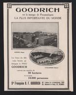 Pub Papier 1913 Pneu Automobiles Safety GOODRICH Colombes Seine Usine - Publicités