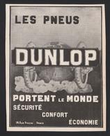 Pub Papier 1911 Pneu Automobiles Accessoire Voiture DUNLOP Pneus - Publicités