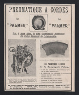 Pub Papier 1907 Pneu Automobiles Accessoire Voiture Pneus à Cordes Compagnie PALMER - Publicités