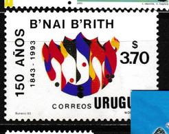 82 - URUGUAY : Timbre Illustrant Le B'NAI BRITH (fils De L'Alliance), Organisation Fraternelle Juive Fondée En 1843 - Freemasonry