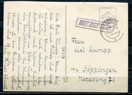 "Germany Alliierte Besetzung Franz. Zone 1947 AK Mit Lila Freimachung "" Gebühr Bezahlt "" U.Tstp.""Ravensburg."" 1 Karte - Zona Francesa"