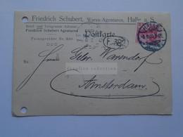 D178835  Deutschland - Postkarte - 1909  HALLE -Friedrich Schubert -sent To Amsterdam -Warendorf - Non Classificati