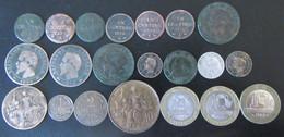 France - 21 Monnaies Entre 1798 Et 1991 Dont 20 Centimes 1867 A En Argent - Tous états - Verzamelingen