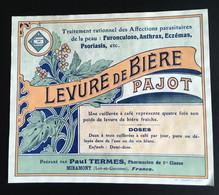 Rare Etiquette Pharmacie Miramont Pharmacien Termes Lot Garonne Levure Bière Pajot - Other