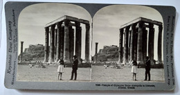 PHOTO STÉRÉO GRÈCE - Temple De Zeus - Athènes - Animée - 1906 - Ed. Keystone TBE - Stereoscopio