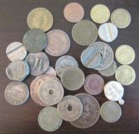 Lot De Jetons Et Monnaies En Vrac Dont Un Duit 1808, Jetons Monétaires, Reproduction De Pièces Anciennes, Etc... - Mezclas - Monedas