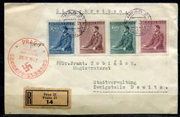 """German Empires Böhmen Und Mähren 1942 Reco First Day Beleg Mi.Nr.85/88 Mit ESST"""" Prag 1-Führers Geburtstag """"1 Beleg - Occupation 1938-45"""