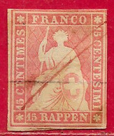Suisse N°28b 15r Rose (fil De Soie Vert & Papier Moyen) 1854-62 O - Used Stamps