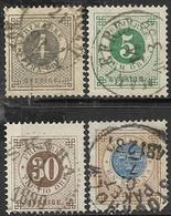Sweden   1886  Sc#42-3, 47, 49   3o, 4o, 30o, 1k  Used   2016 Scott Value $8 - Oblitérés